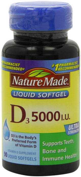 2 Pack - Nature Made Vitamin D3 5000 IU Liquid Softgels 90 ea