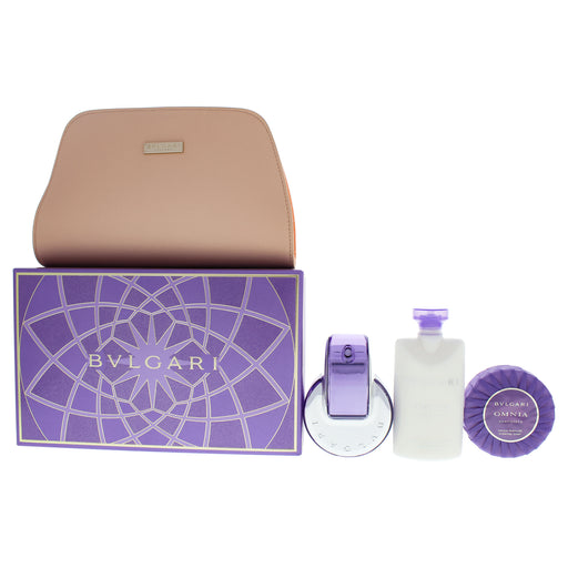 Bvlgari Omnia Amethyste Perfume Gift Set for Women with pouch, 3 pc
