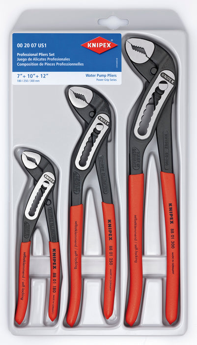 KNIPEX Tools 00 20 07 US1, Alligator Pliers 7, 10, and 12-Inch Set, 3-Piece