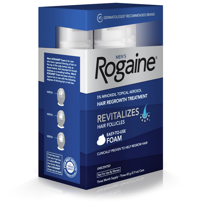 Men's Rogaine 5% Minoxidil Foam for Hair Regrowth, 3-month Supply