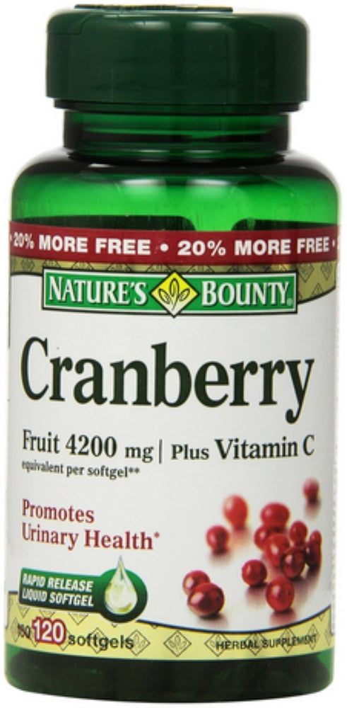 Nature's Bounty Cranberry Fruit 4200 mg, Plus Vitamin C Softgels, 120 ea (Pack of 6)