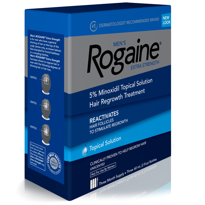 Men's Rogaine Extra Strength 5% Minoxidil Solution, 3-Month Supply