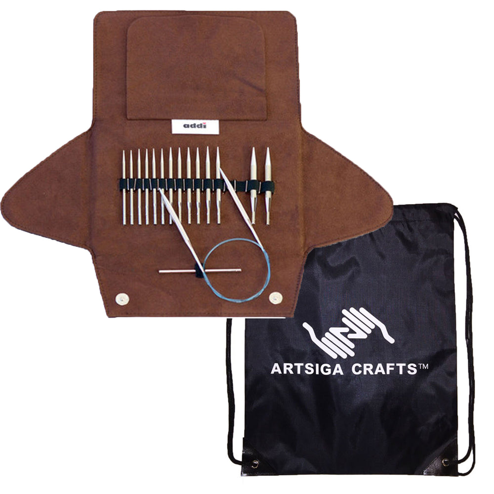 addi Knitting Needle Click Short Rocket Lace Interchangeable Circular System White-Bronze Finish Skacel Exclusive Blue Cords Bundle with 1 Artsiga Crafts Project Bag