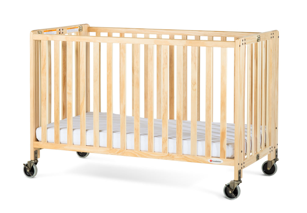 Foundations HideAway Full-Size Portable Wood Crib with Mattress, Natural
