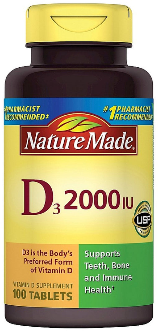 2 Pack - Nature Made Vitamin D3 2000 IU Tablets 100 ea