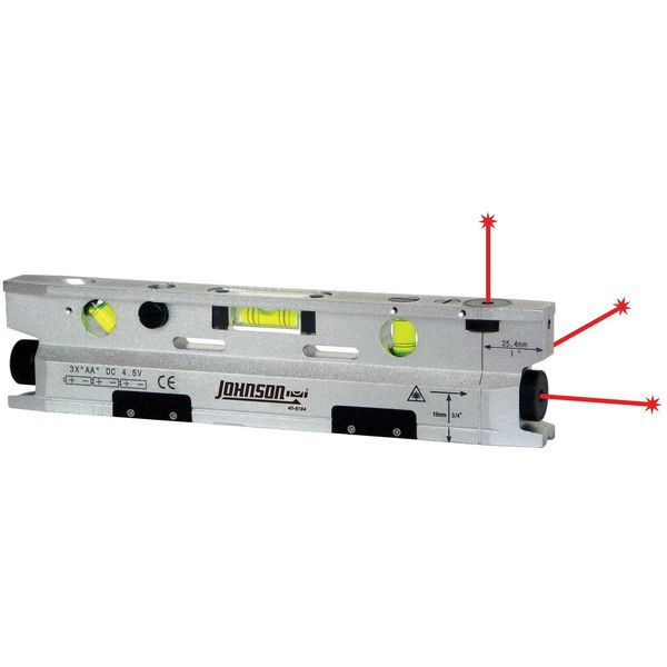 Johnson 9-1/2, Three Beam Magnetic Torpedo Laser Level, 40-6184