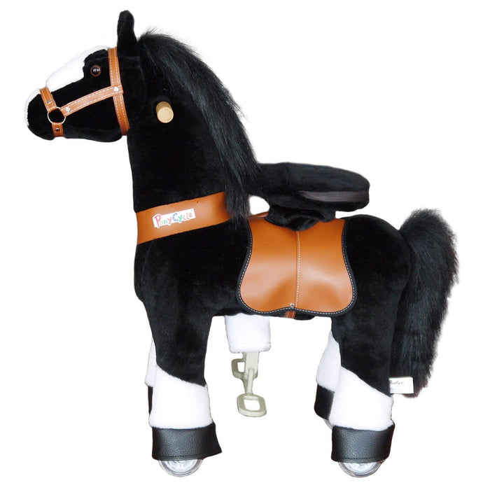 PonyCycle Ride On Mechanical Horse With White Hoof And Black Mane N4184 Medium for Age 4-9