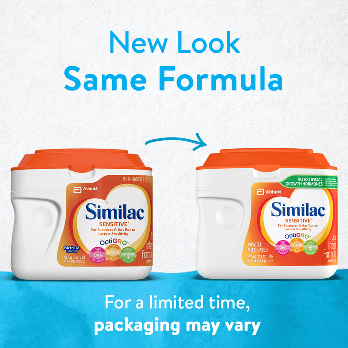 Similac Sensitive For Fussiness and Gas Infant Formula with Iron Baby Formula 22.5 oz Canister