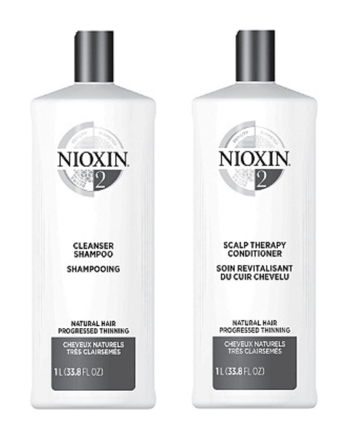 Nioxin System 2 Cleanser & Scalp Therapy Liter Duo, 33.8 Fl Oz