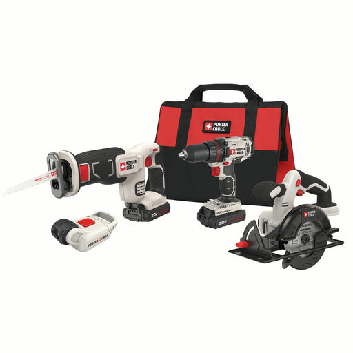 PORTER CABLE 20-Volt Max Lithium-Ion 4 Tool Combo Kit, PCCK616L4