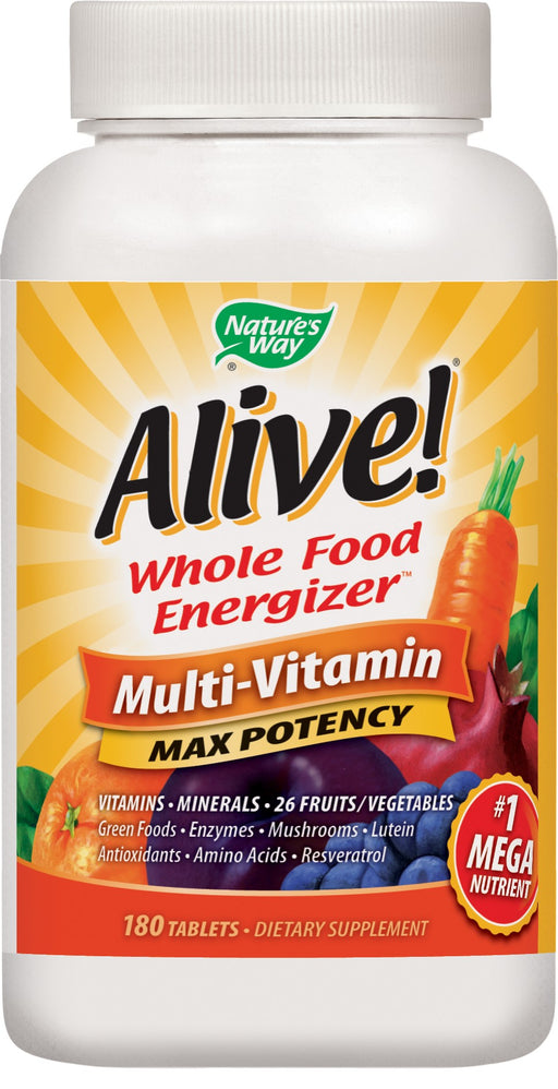 Natures Way Alive! Max3 Daily Multivitamin Energizer Supplement 180 Tablets
