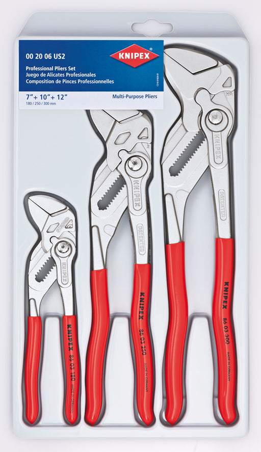 KNIPEX Tools 00 20 06 US2, Pliers Wrench 7.25, 10, and 12-Inch Set, 3-Piece