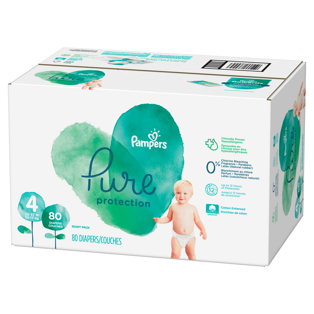 Pampers Pure Protection Diapers Size 4 80 Count