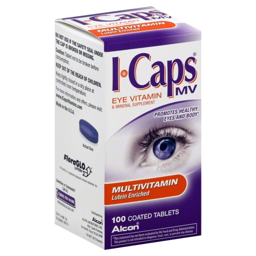 Alcon ICaps Multivitamin Eye Vitamin & Mineral Support, Coated Tablets, 100 tablets