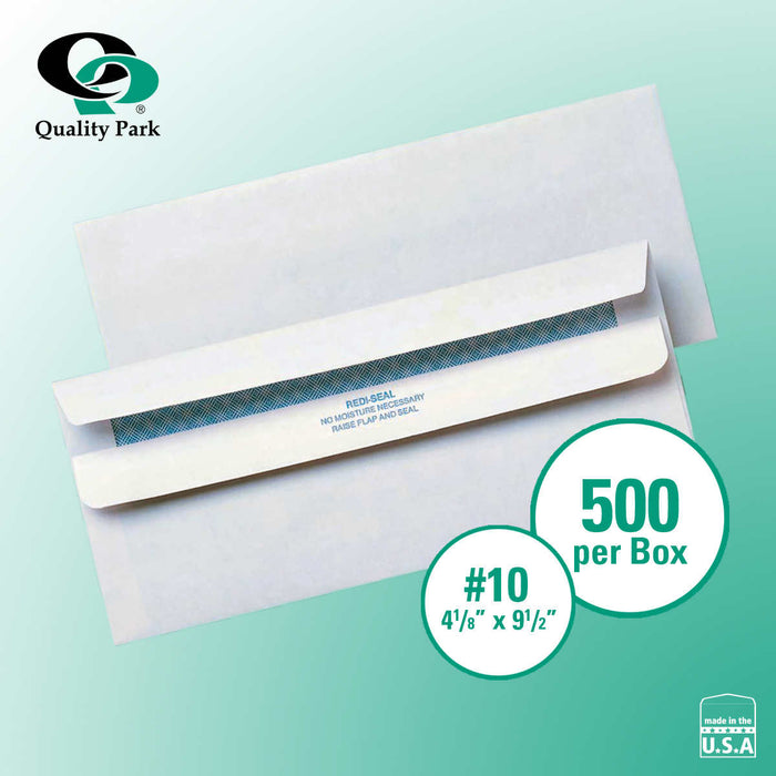 "Quality Park Redi-Seal Security-Tint Windowless Envelopes 4-1/8"" x 9-1/2"" White, 500-count"