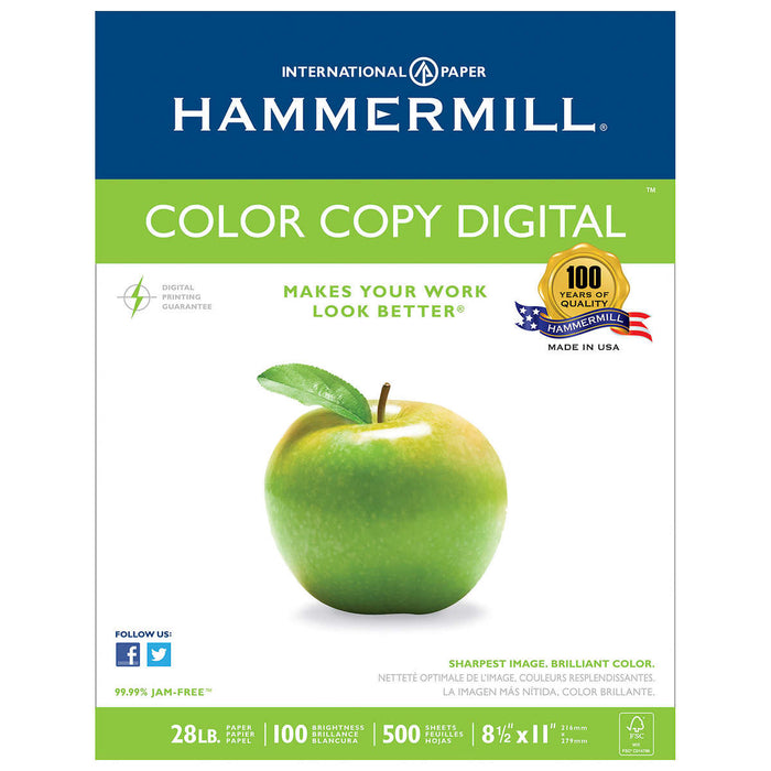 Hammermill Color Copy Paper, Letter, 28lb,100-Bright, 5 Reams of 500 sheets