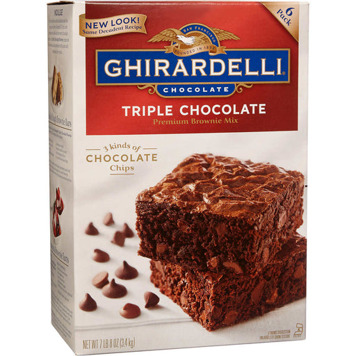 Ghirardelli Triple Chocolate Premium Brownie Mix, 6-count