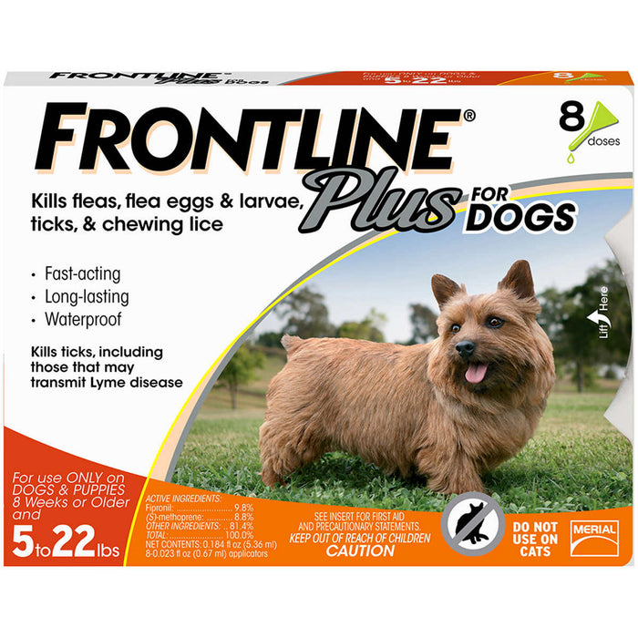 Frontline Plus Dog 1-22 lb, 8 Single Doses