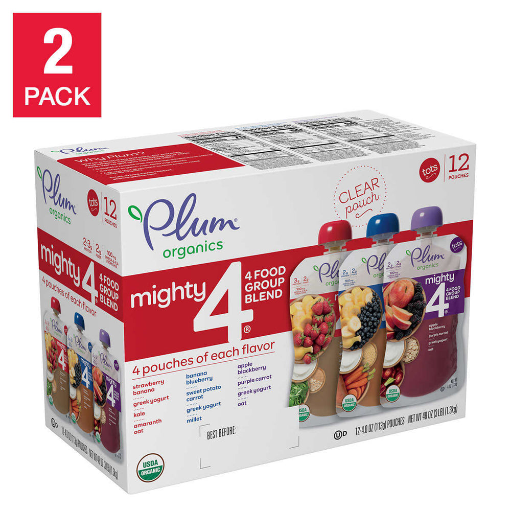 Plum Organics Mighty 4 Blends Variety, 2-pack