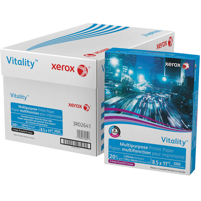 Xerox Vitality Multipurpose Paper, 3-Hole Punched, Letter, 20lb, 92-Bright, 10 Reams of 500 sheets