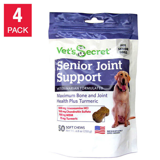 Vet's Secret Senior Joint Support + Turmeric, 50-count, 4-pack