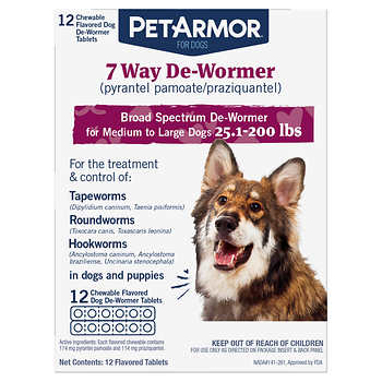 PetArmor 7 Way Chewable De-Wormer for Medium and Large Dogs, 12-count