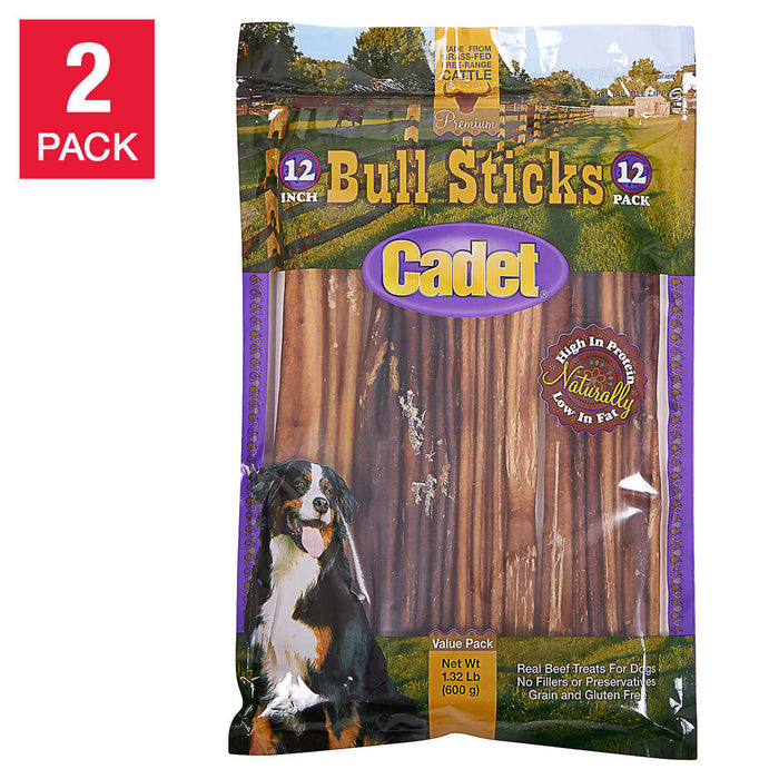"Cadet 12"" Bully Sticks 12-count, 2-pack"
