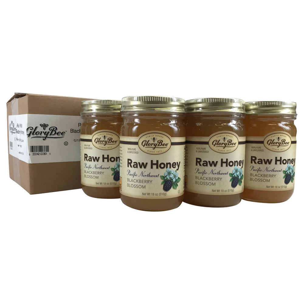 GloryBee Raw Pacific Northwest Blackberry Blossom Honey 18 oz., 6-pack