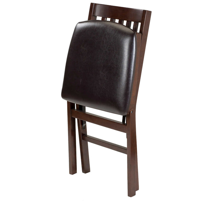 Stakmore Solid Wood Upholstered Folding Chair, Espresso, 2-pack