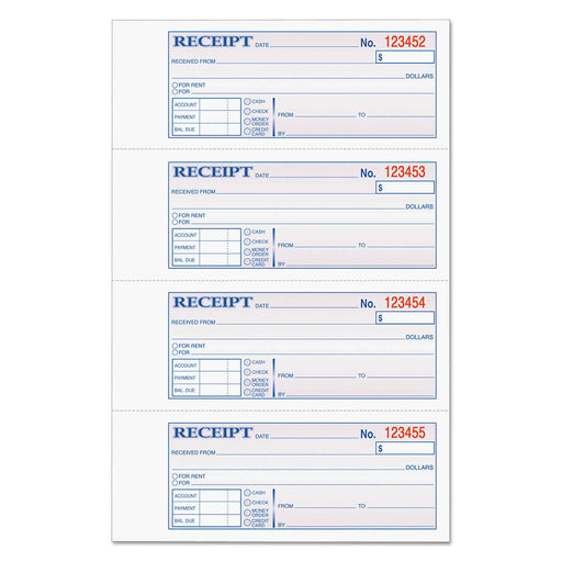 "Tops Carbonless Three-Part Money/Rent Receipt Books,  2 3/4"" x 7 1/8"" 300-count"