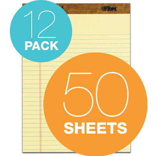 TOPS The Legal Pad, 8-1/2 in. x 11-3/4 in., Canary, 12-count