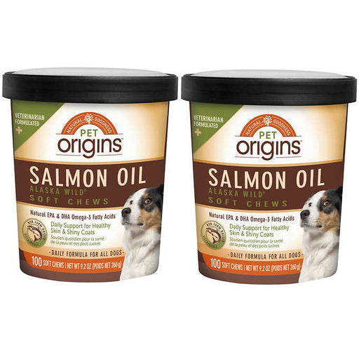 Pet Origins Salmon Oil Soft Chews for Dogs 100-count, 2-pack