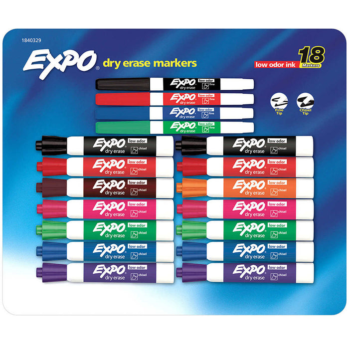 Expo Low Odor Dry Erase Markers, 18-count