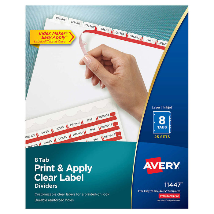 Avery Index Maker Clear Label Dividers 8-Tab, Letter Size, 25 Sets