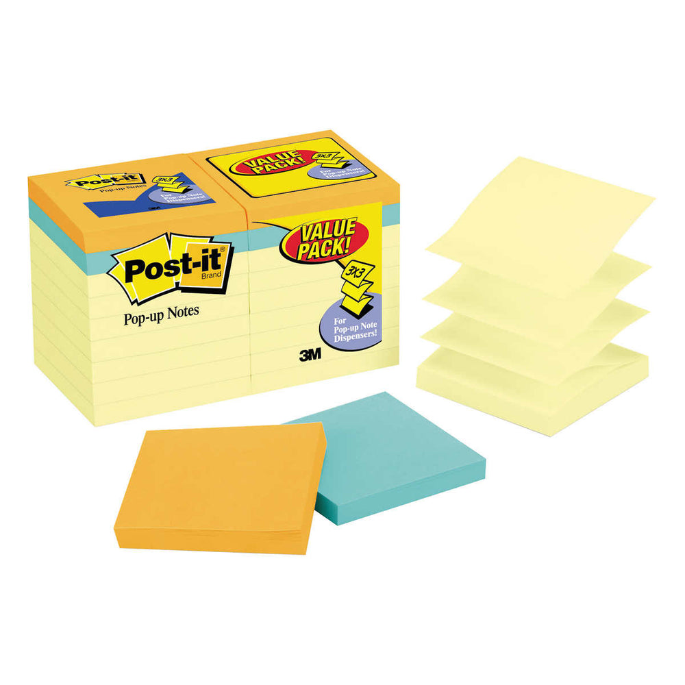 Post-it Pop-Up Notes, Canary Yellow, 3 x 3, 18-pack