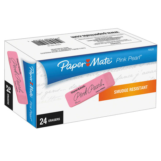 Paper Mate Pink Pearl Eraser, Medium, 24-count