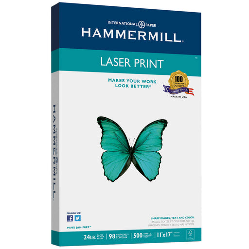 Hammermill Laser Print Office Paper, 11 inch x 17 inch, 24lb, 98-Bright, 500 sheets