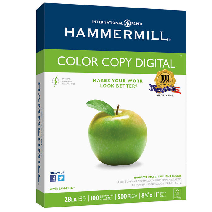 Hammermill Color Copy Digital Paper, Letter, Photo White, 28lb, 100-Bright, 500 sheets