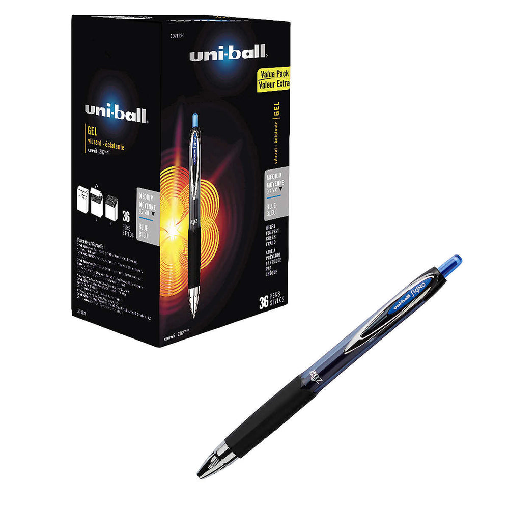 uni-ball Signo Gel 207 Rollerball Pen, Medium Point, Blue, 36-count