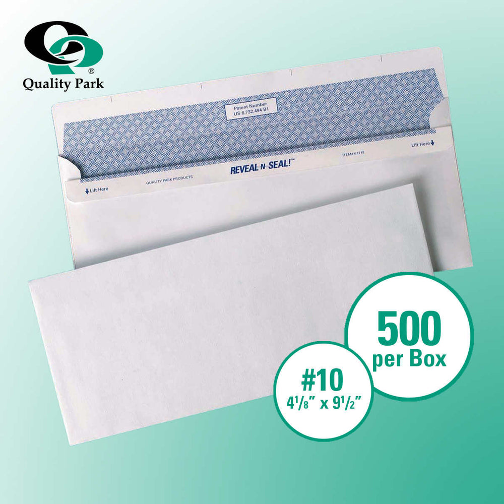 "Quality Park Reveal-N-Seal Security-Tint Windowless Envelope 4-1/8"" x 9-1/2"" White, 500-count"