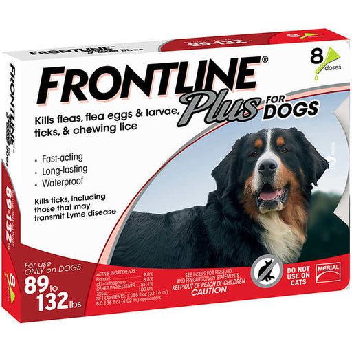 Frontline Plus Dog 89-132 lb, 8 Single Doses
