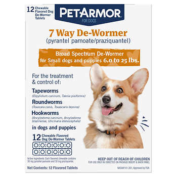 PetArmor 7 Way Chewable De-Wormer for Puppies and Small Dogs, 12-count
