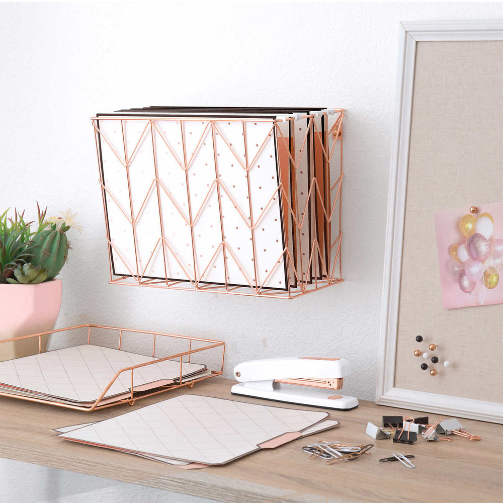 U Brands Rose Gold Desktop Filing Set