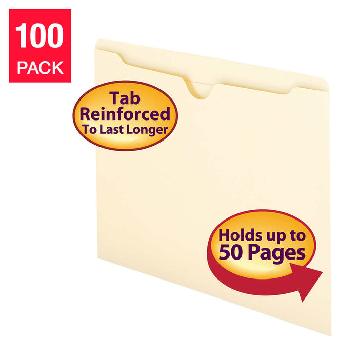 Smead File Jacket, Flat-No Expansion, Letter, Manila, 100-count