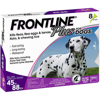 Frontline Plus Dog 45-88 lb, 8 Single Doses