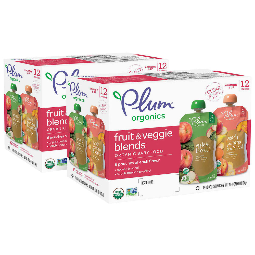 Plum Organics Stage 2 Apple & Broccoli and Peach, Banana & Apricot 2x12-count Variety Pack (Two Boxes)