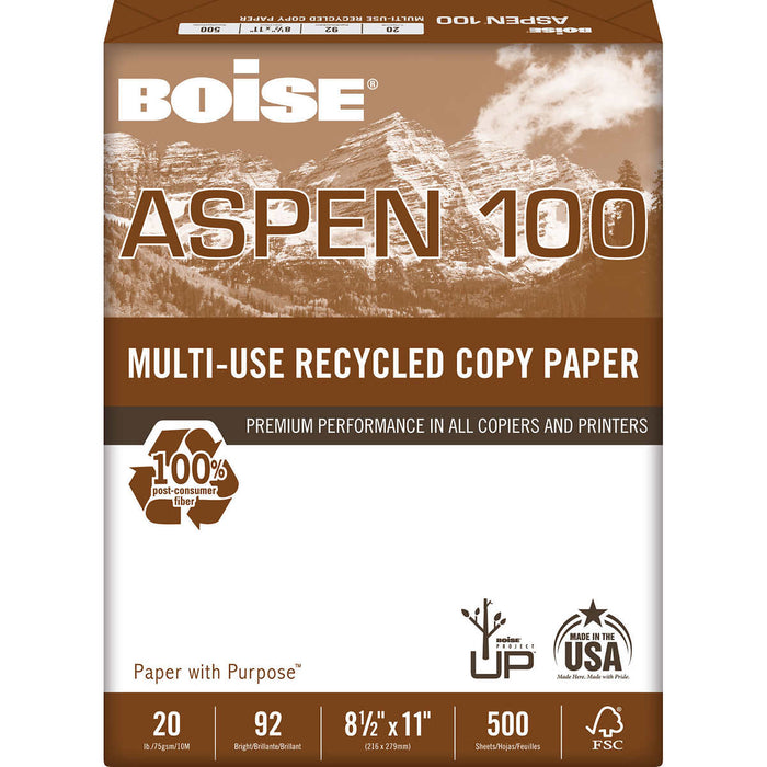 Boise Aspen 100, 100% Recycled Printer Paper, Letter, 20lb, 92-Bright, 10 Reams of 500 sheets