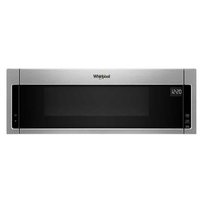 Whirlpool 1.1CuFt Low Profile Over the Range Microwave Hood Combination in Black on Stainless Steel