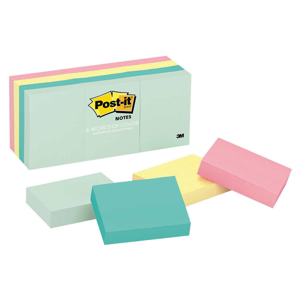 Post-it Notes, 1-1/2 x 2, Marseille colors, 12 Pads, 2-pack