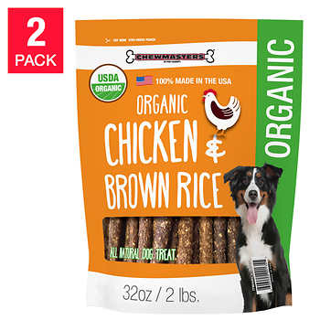 Chewmasters Organic Chicken & Brown Rice Dog Treat, 32 oz, 2-pack